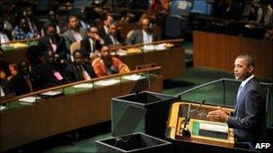 Barack Obama speaks at the United Nations General Assembly in New York, 23 September 2010