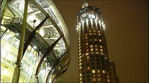 A view of Swissotel Krasnye Holmy by night, Moscow, 2006