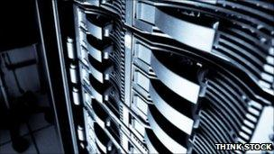 Rack of computers, Think Stock