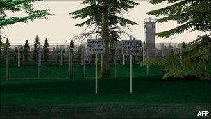 Screen grab from game 1378 showing border fence