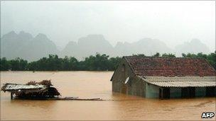 Flooded house in Quang Binh province, Vietnam - 4 October 2010