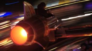 A rocket ride at a theme park