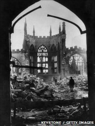 0e438c70 Ruins of Coventry cathedral after the Blitz of 14 November, 1940