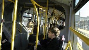 Inside a bendy bus