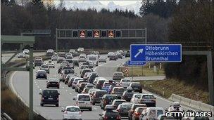 Traffic jam on a motorway in southern Germany