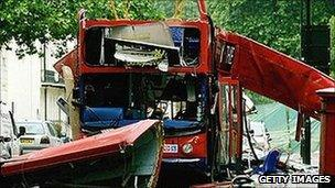 The remains of the bus attacked at Tavistock Square