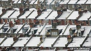 Snow on houses