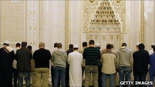 Muslims attend a mosque in Germany