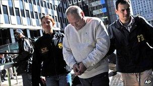 Michael Dobrushin is detained by FBI officials in New York, US (13 Oct 2010)