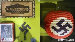 Swastikas on display