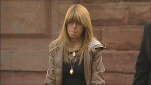 Hazel Barker arriving at the inquest