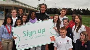Olympic athletes Mark Foster and Tessa Sanderson join pupils from Cumberland School at Newham Leisure Centre for the announcement of ticket prices for the London 2012 Olympics