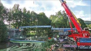 The new bridge across the River Stour at Stourpaine