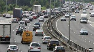Heavy traffic congestion on the M4 at junction 11 westbound