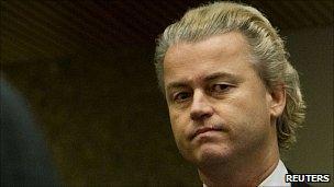 Geert Wilders in court in Amsterdam. 22 Oct 2010