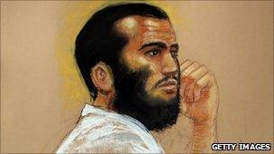 A court drawing of Omar Khadr