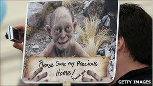 A Hobbit poster is seen during the protest at Civic Square on October 25, 2010 in Wellington, New Zealand.