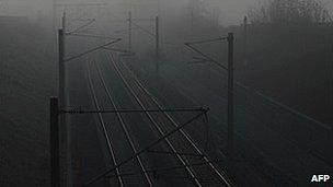 A deserted railway line near Augsburg, southern Germany, 26 October