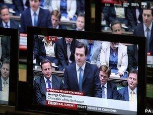 TVs broadcasting George Osborne's spending review speech