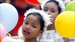 File image of Vietnamese girls in Hanoi on 1 October 2010