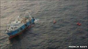 Rescue operation at The Athena. Pic: French Navy