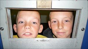 Luke and Lewis at Fairwater police station, Cardiff