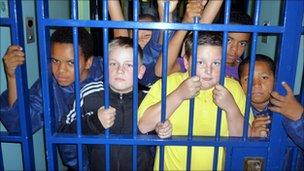 Children take part in the Night in the Cell project