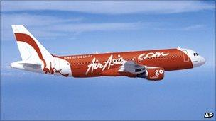 An Air Asia plane in flight