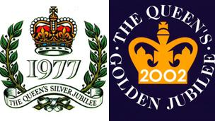 Emblems for the Queen's silver and golden Jubilees