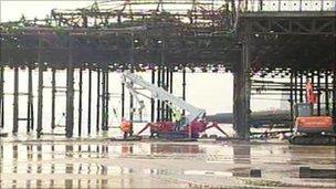 Engineers at Hastings Pier