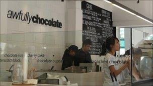The interior of an Awfully Chocolate shop in Singapore