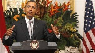 Barack Obama at the Merdeka palace in Jakarta 9 Nov
