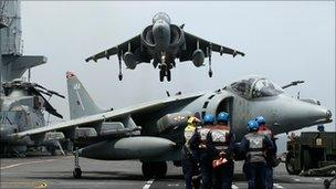 Harrier coming into land on HMS Ark Royal