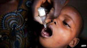 Child being immunized against polio