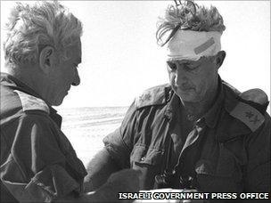 Ariel Sharon in the Sinai Desert with a head injury during the 1973 Arab-Israeli war
