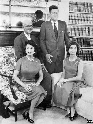 Joe and Rose Kennedy visit their son John and Jacky at the White House