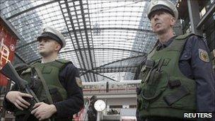 German police patrol to the main railway station in Berlin, 17 November
