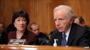 Susan Collins, left, and Joseph Lieberman