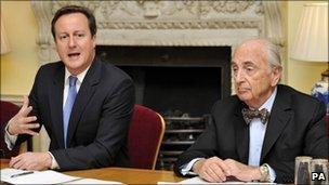 Lord Young and David Cameron