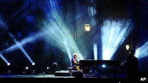 Sir Elton John performing at the Piedigrotta festival in Naples, September 2009