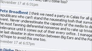 Screen grab of Bishop of Willesden's Facebook page