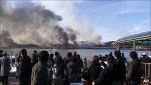 Smoke rising from Yeonpyeong island on 23 November 2010
