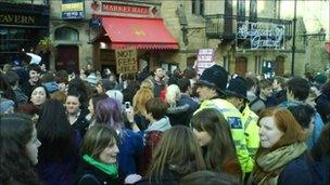 Student protesters gathering in Durham
