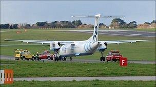 Flybe plane stopped on Guernsey Airport taxiway due to smoke on board