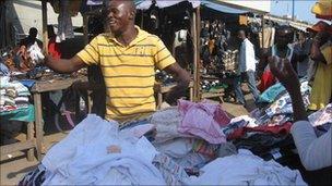 Second-hand underwear for sale in Kantamanto Market in Accra Ghana