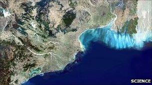 Close up of eastern India and Bangladesh