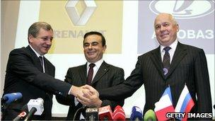 President of Avtovaz Boris Aleshin, Renault CEO Carlos Ghosn, and Sergei Chemezov, head of Russia's state-owned Rostekhnologi corporation, pictured in 2008