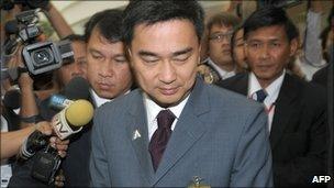Thai PM Abhisit Vejjajiva at the constitutional court, Bangkok 29 Nov 2010