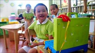 Children at Shanghai's Xiang Yin kindergarten