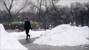 Snow piled up in Poznan, central Poland